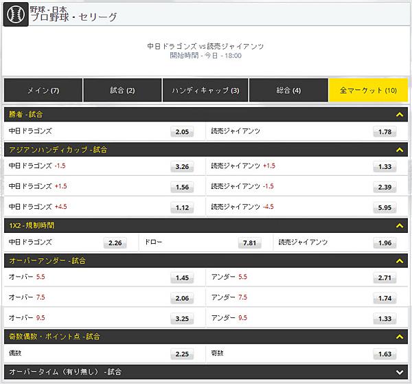 Dafabet 日本のプロ野球にもベットできる
